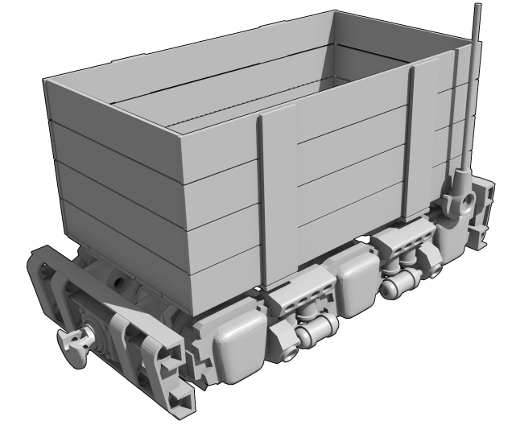 Rendered view of mine trolley model