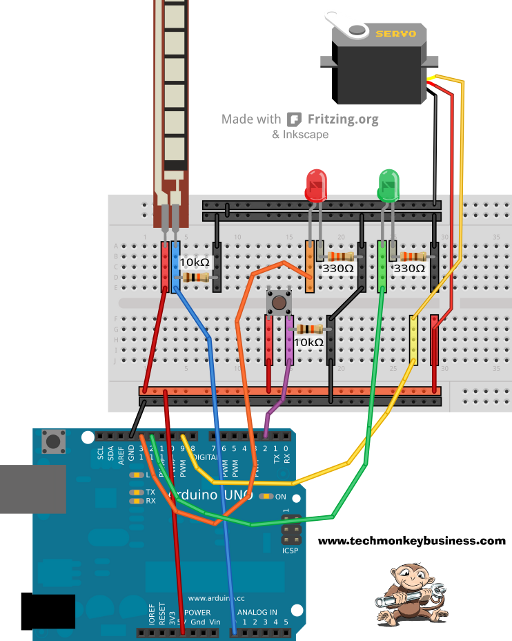 Fritzing Diagram of the Flex Sensor and Servo Connections