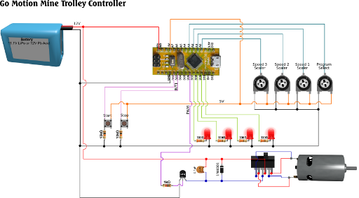 DC Motor Motion Sequence Controller Circuit Diagram
