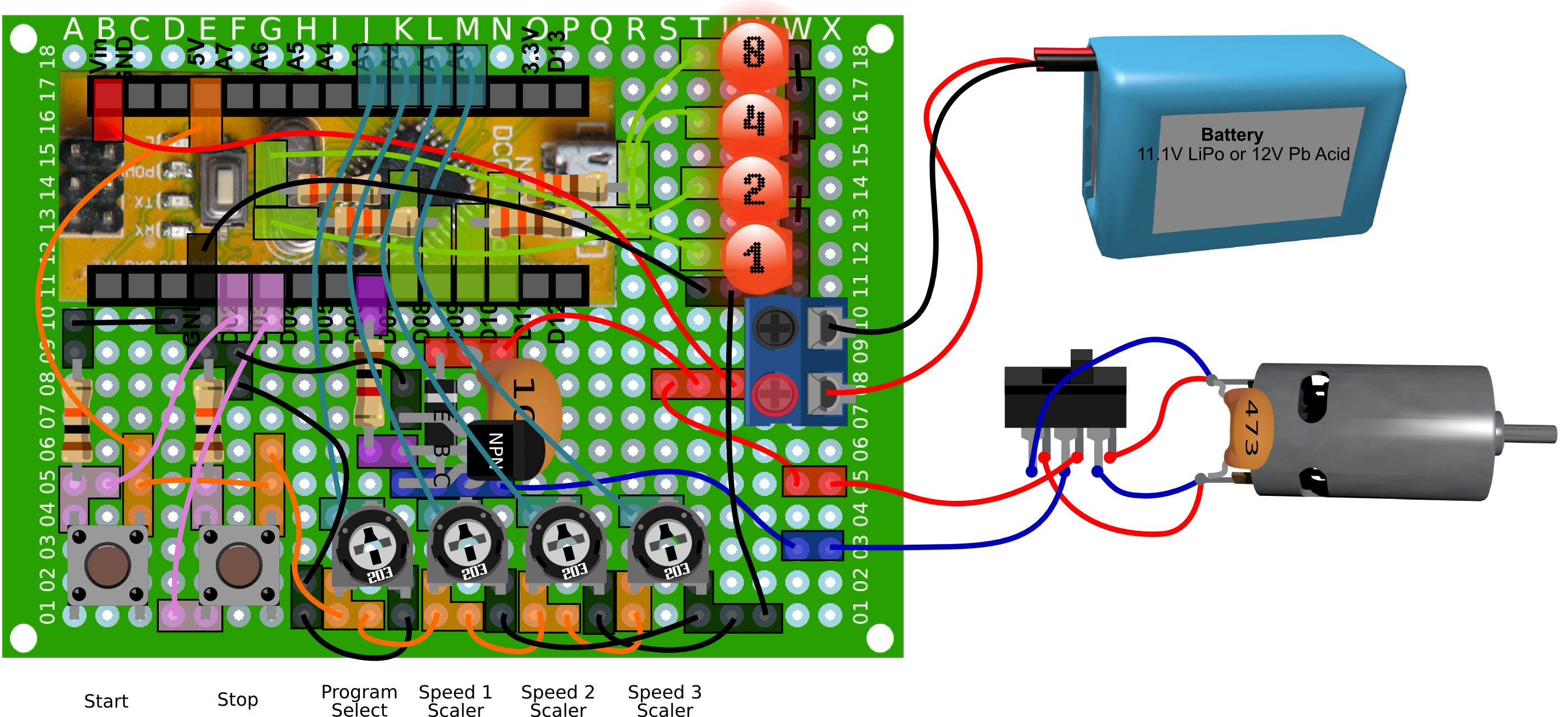 Dc Motor Motion Sequence Controller 12v Speed Circuit With Explanation Electronic Perfboard Layout