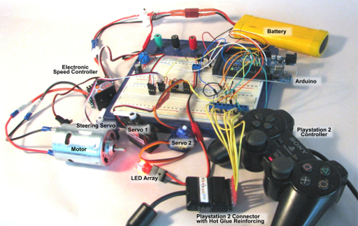 The components on a breadboard