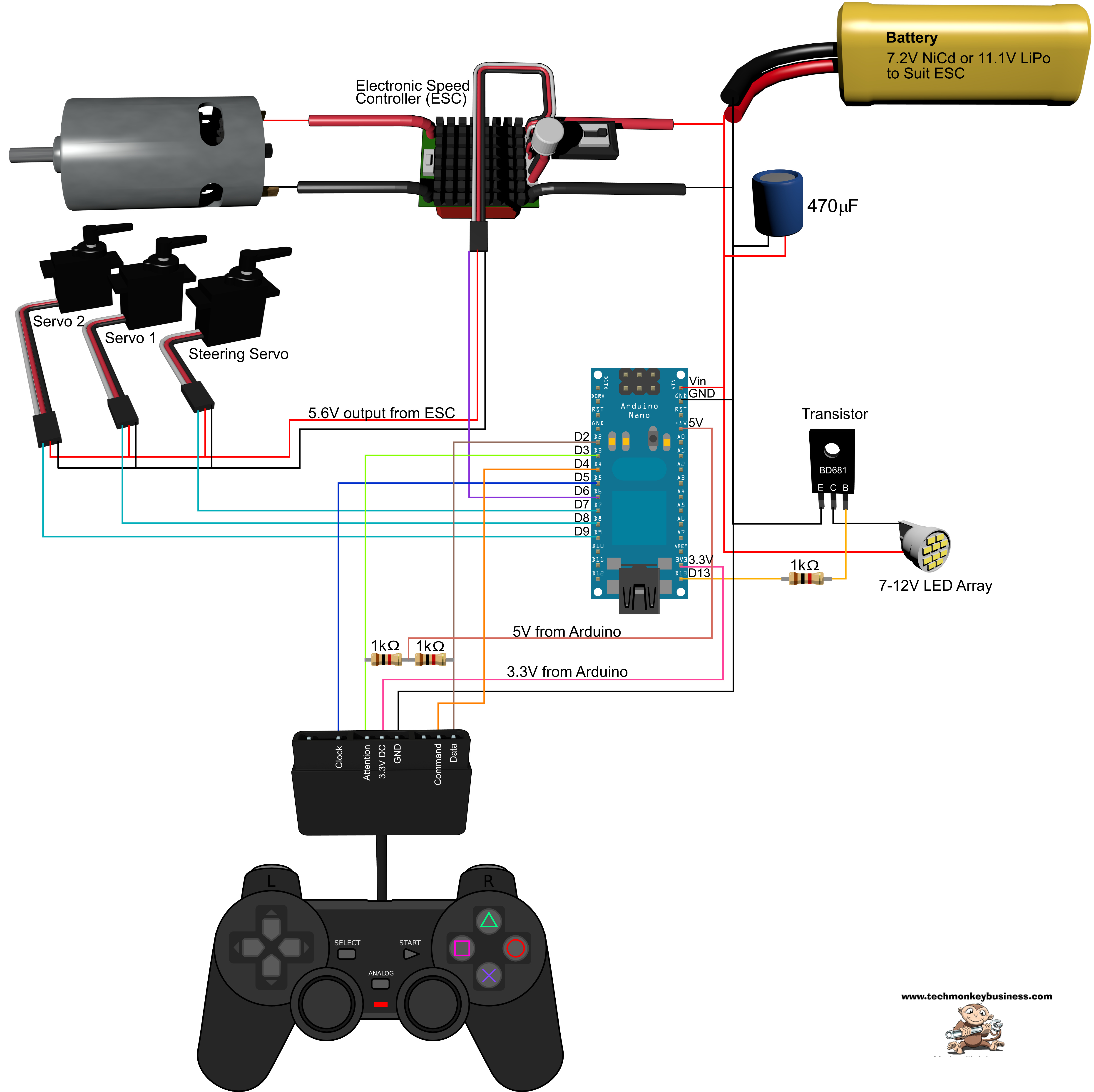 Using A Playstation 2 Controller With Your Arduino Project Wiring Diagram Control 4 System Circuit Of The Ps2 Demonstration Rig