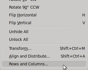 Find the object Row and Columns menu item