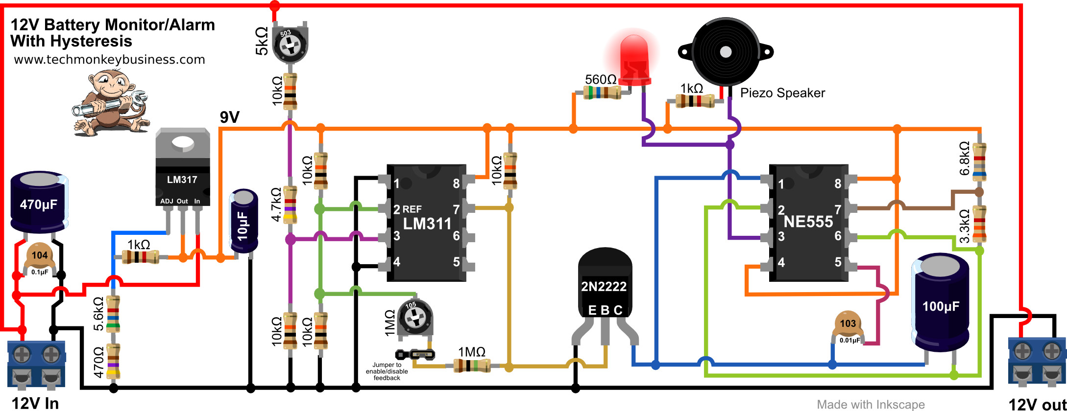 12v Battery Diagram 19 Wiring Images Diagrams Sealed Lead Acid Charger Circuit Of The Monitor With Feedback Included