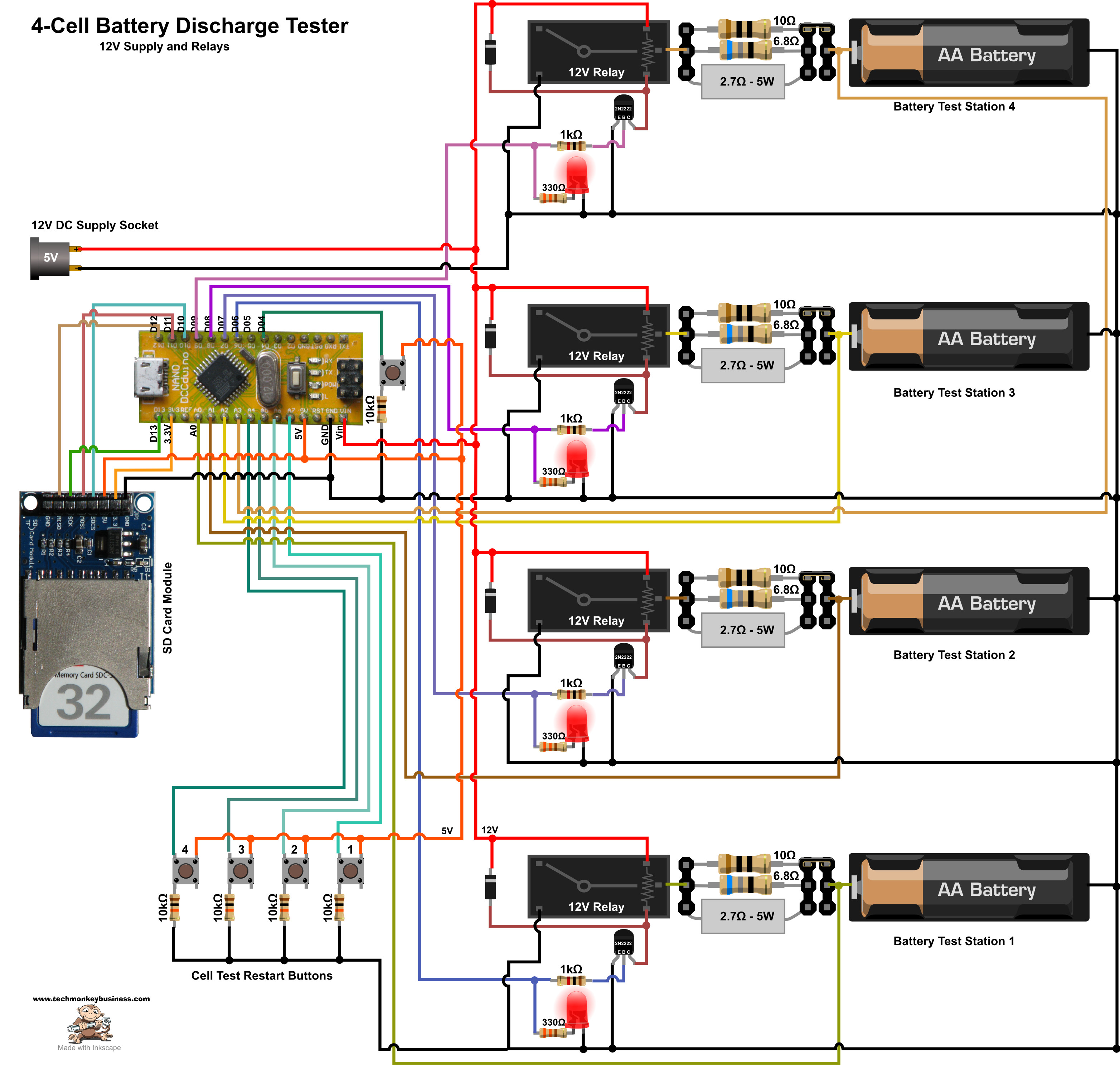 Battery Discharge Tester Mega Relay Board Wiring Diagram 12v Version Circuit