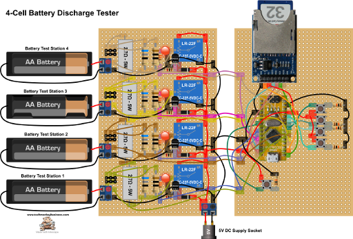 Battery Discharge Tester 5V Version Protoboard Layout
