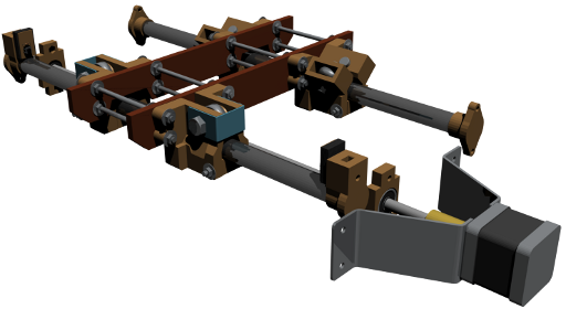 Rendered model of most of the camera slide assembly