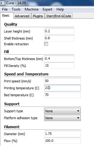 Cura Printing Settings for Coarse Print on Frankenvinci
