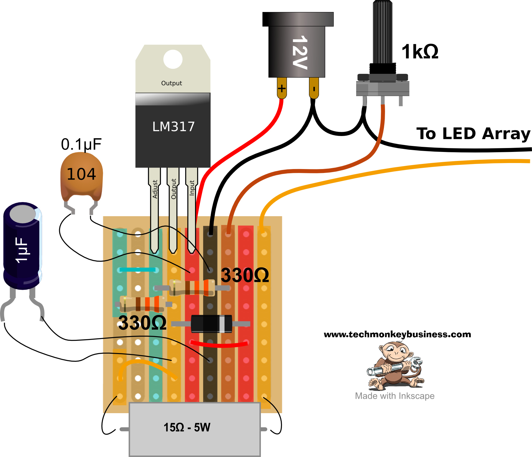 Led Desklamp Hack Capacitor Circuit Stripboard Layout For The
