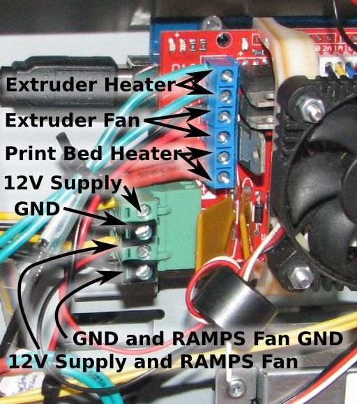 Supply, Fan, and Heater Connections to RAMPS