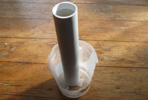 PVC pipe in use to make wax stubs