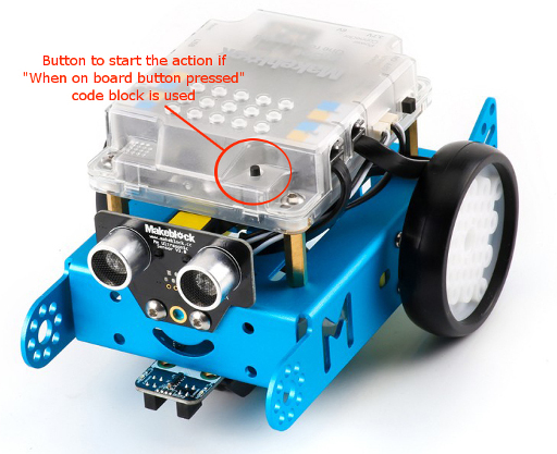 Location of the action button on mBot